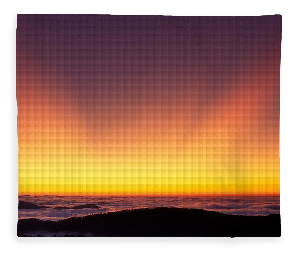 Twilight Fleece Blanket featuring the photograph Crepuscular Rays In Nantahala National Forest by Kevin Adams