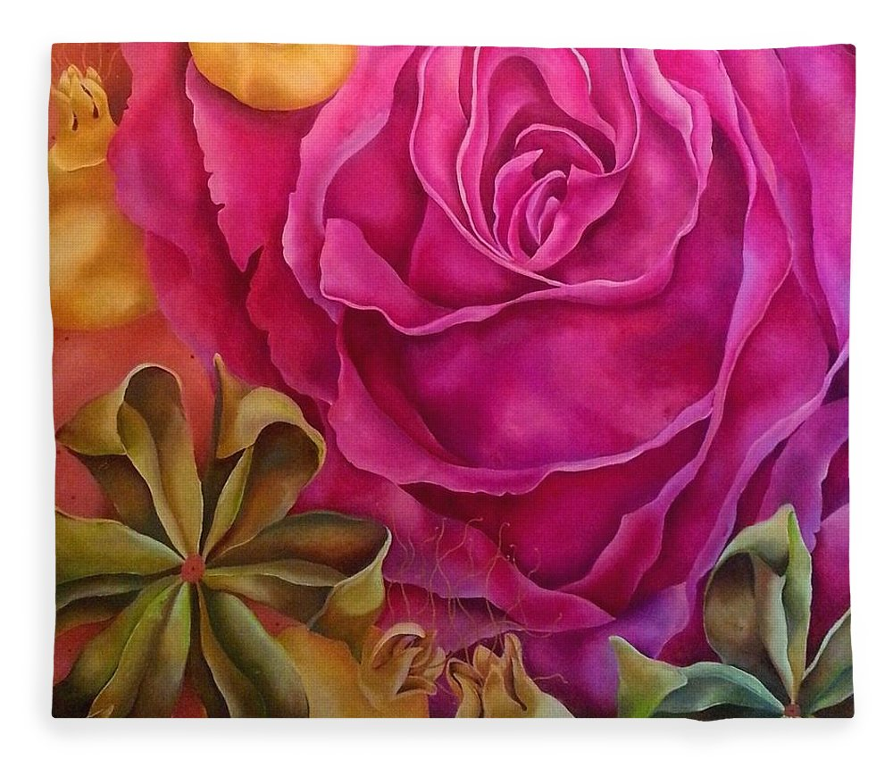 Pink Fleece Blanket featuring the painting Crespon by Elizabeth Elequin