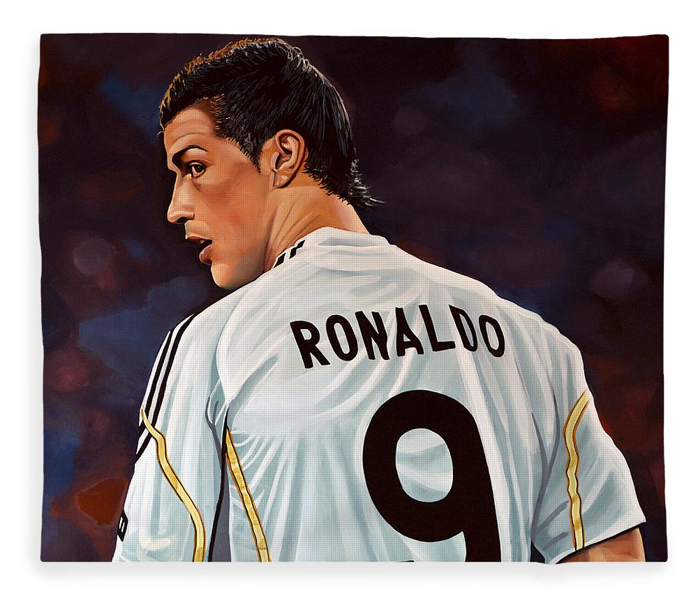 Real Madrid Fleece Blanket featuring the painting Cristiano Ronaldo by Paul Meijering