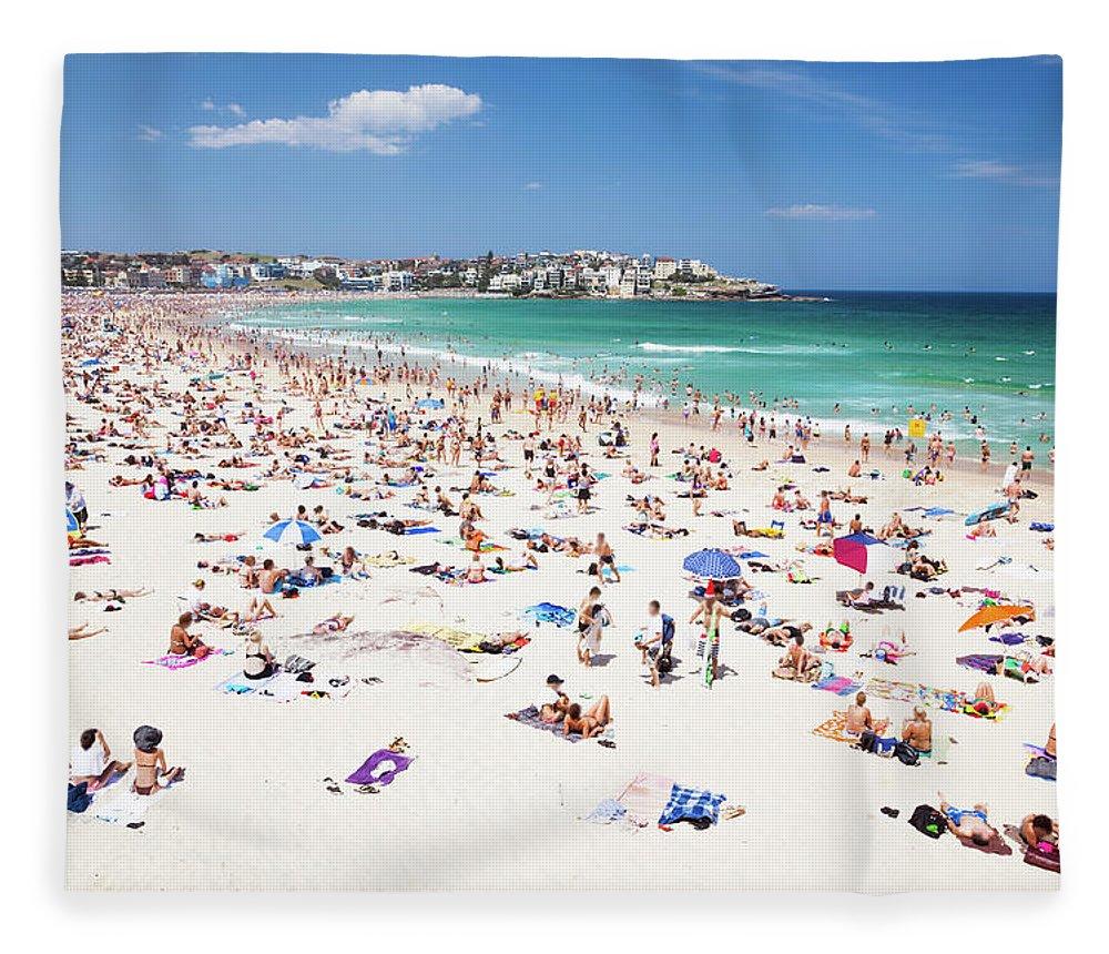 Water's Edge Fleece Blanket featuring the photograph Crowded Bondi Beach, Sydney, Australia by Matteo Colombo