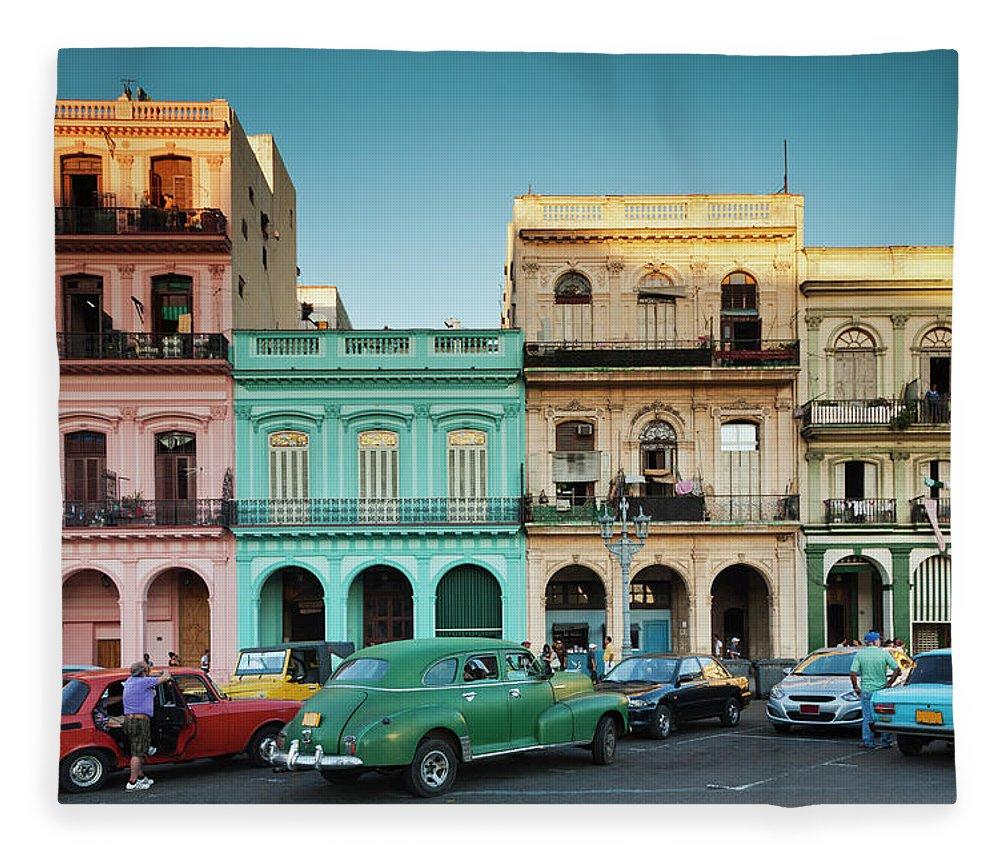 People Fleece Blanket featuring the photograph Cuba, Havana, Havana Vieja, Outside T by Walter Bibikow