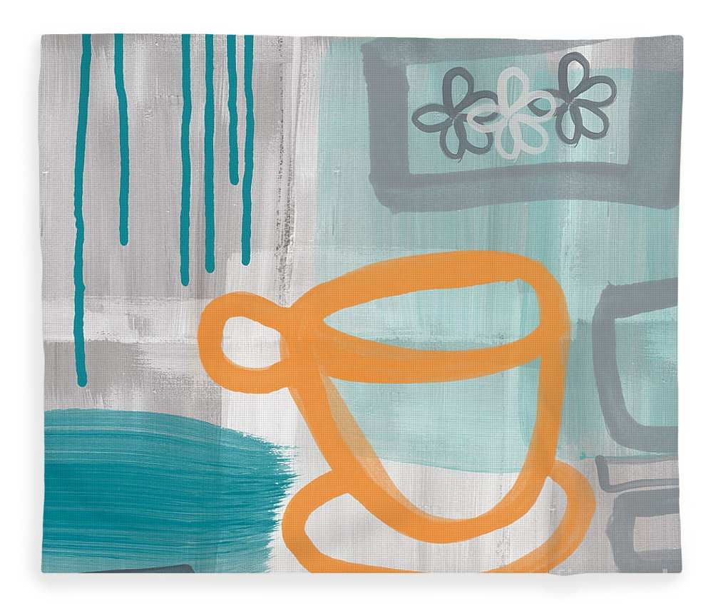 Coffee Fleece Blanket featuring the painting Cup Of Happiness by Linda Woods
