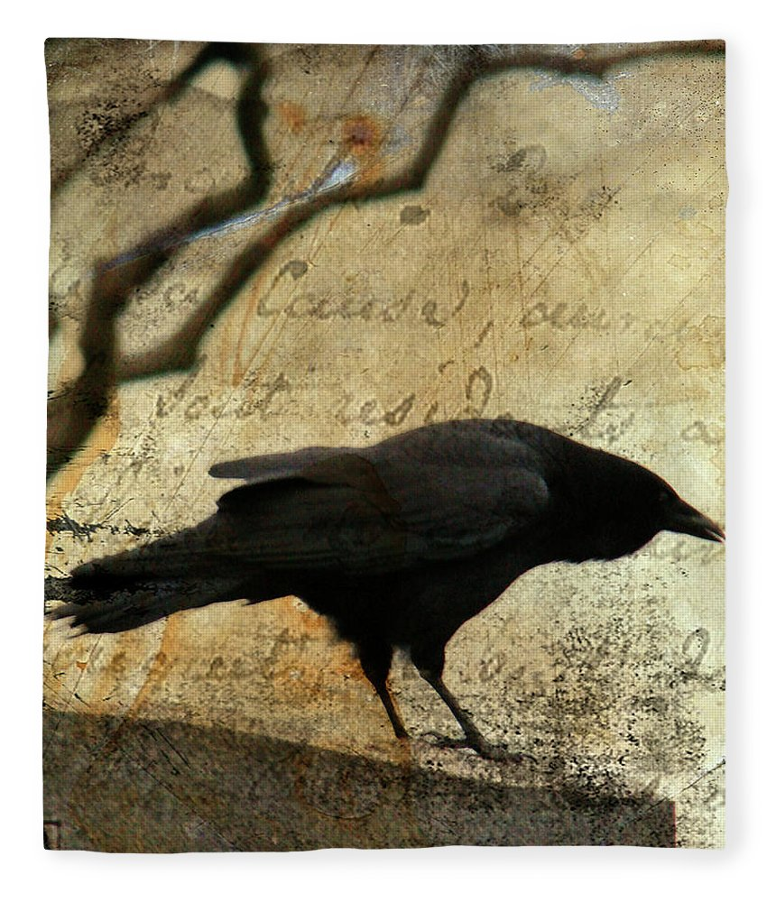 Blackbird Fleece Blanket featuring the digital art Curious Crow by Gothicrow Images