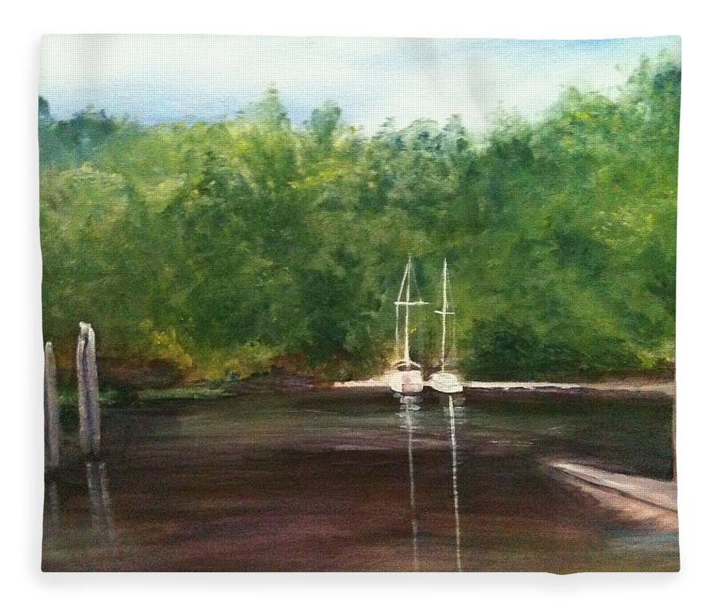Plein Aire Fleece Blanket featuring the painting Curtain's Marina by Sheila Mashaw