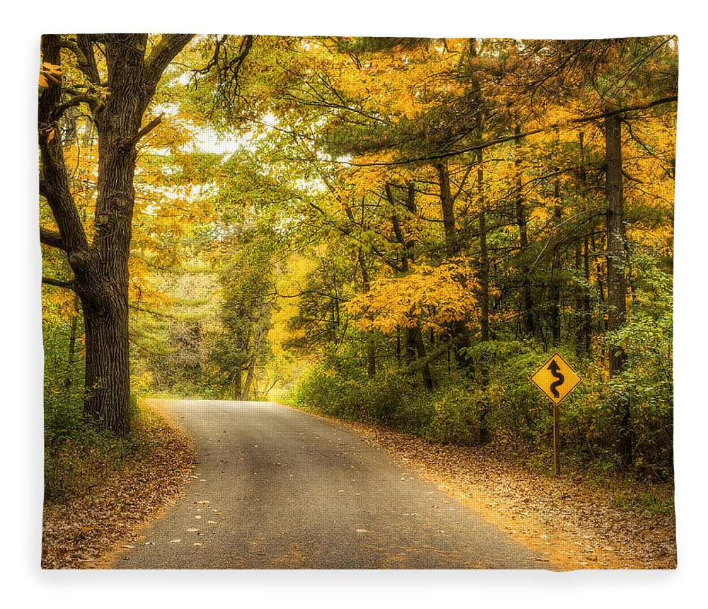 Autumn Fleece Blanket featuring the photograph Curves Ahead by Scott Norris