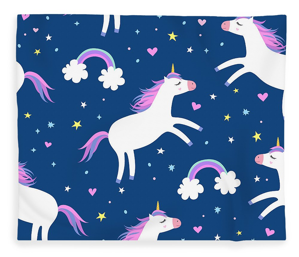 Horse Fleece Blanket featuring the digital art Cute Cartoon Colorful Seamless Pattern by Ekaterina Bedoeva