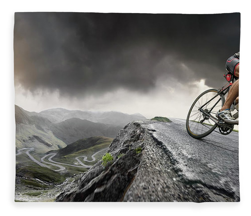 Sports Helmet Fleece Blanket featuring the photograph Cyclist Climbs To The Top by Peepo