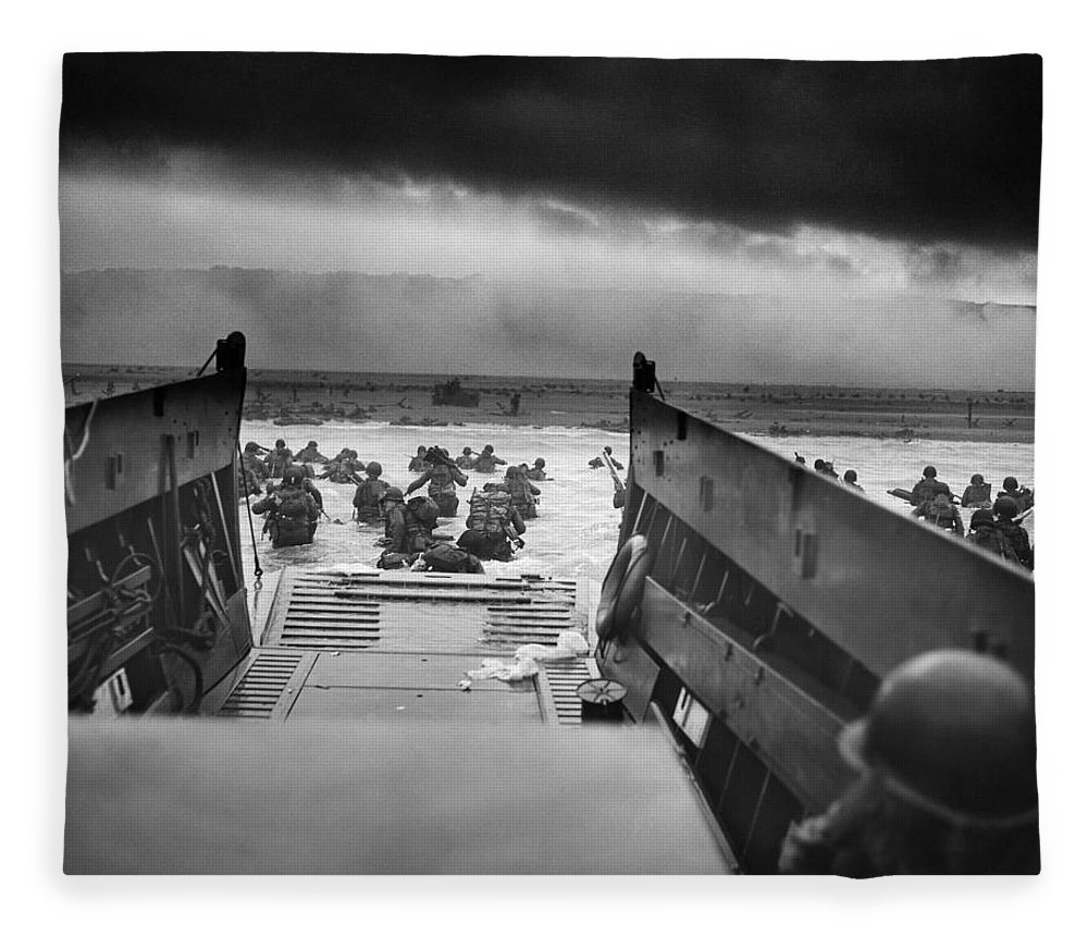 D Day Fleece Blanket featuring the photograph D-day Landing by War Is Hell Store