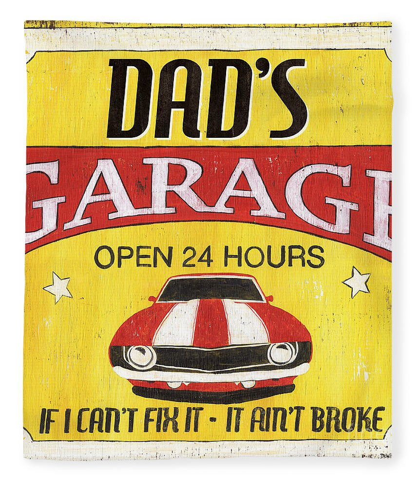 Dad Fleece Blanket featuring the painting Dad's Garage by Debbie DeWitt