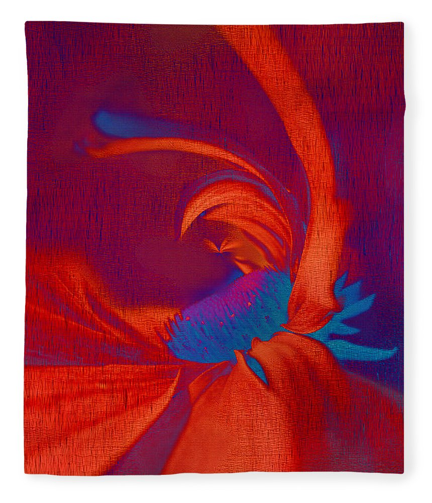 Red Fleece Blanket featuring the digital art Daisy Fun - A03ct02 by Variance Collections