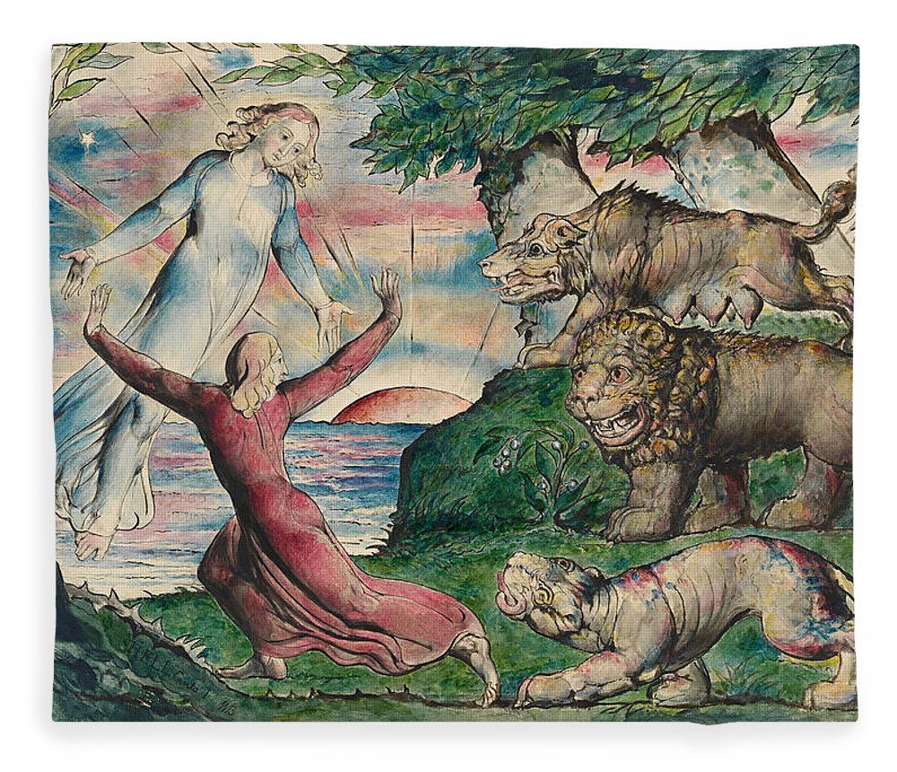 William Blake Fleece Blanket featuring the painting Dante Running From The Three Beasts by William Blake