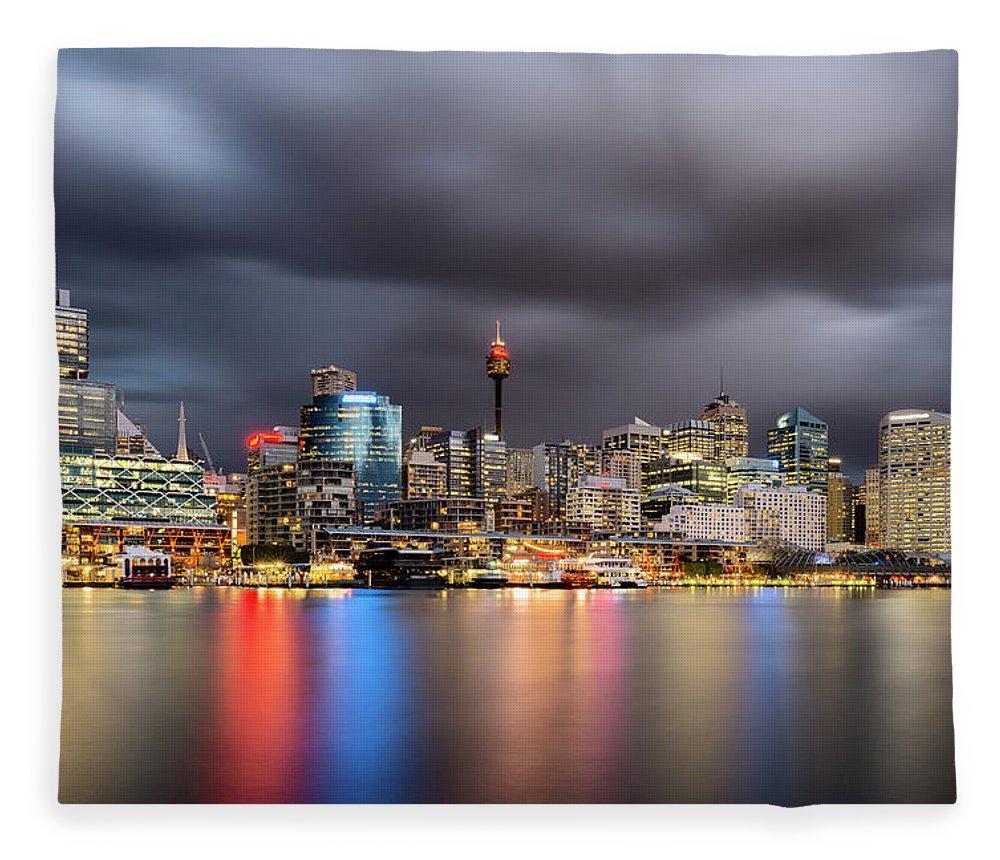 Outdoors Fleece Blanket featuring the photograph Darling Harbour, Sydney - Australia by Atomiczen