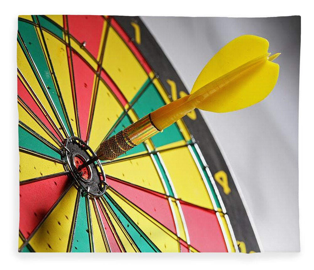 Scoring Fleece Blanket featuring the photograph Dart On A Dartboard by Visage