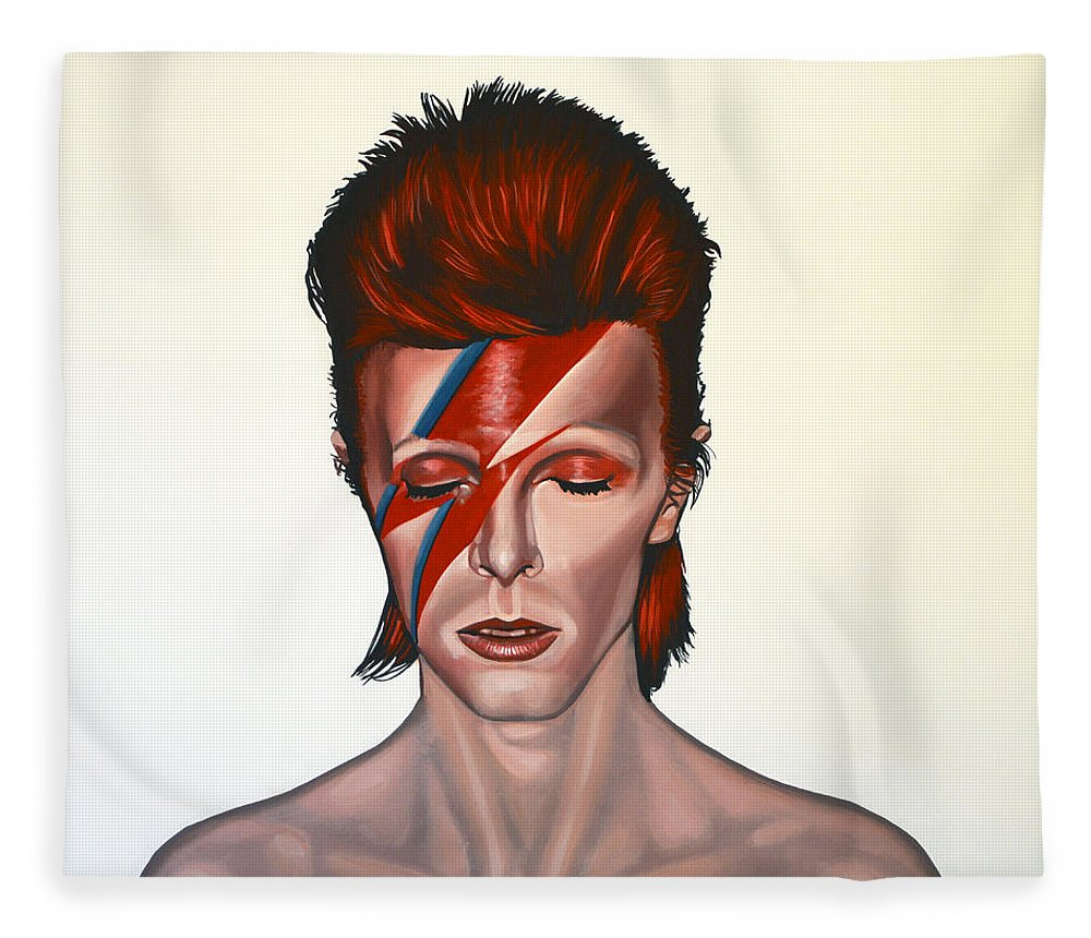 David Bowie Fleece Blanket featuring the painting David Bowie Aladdin Sane by Paul Meijering