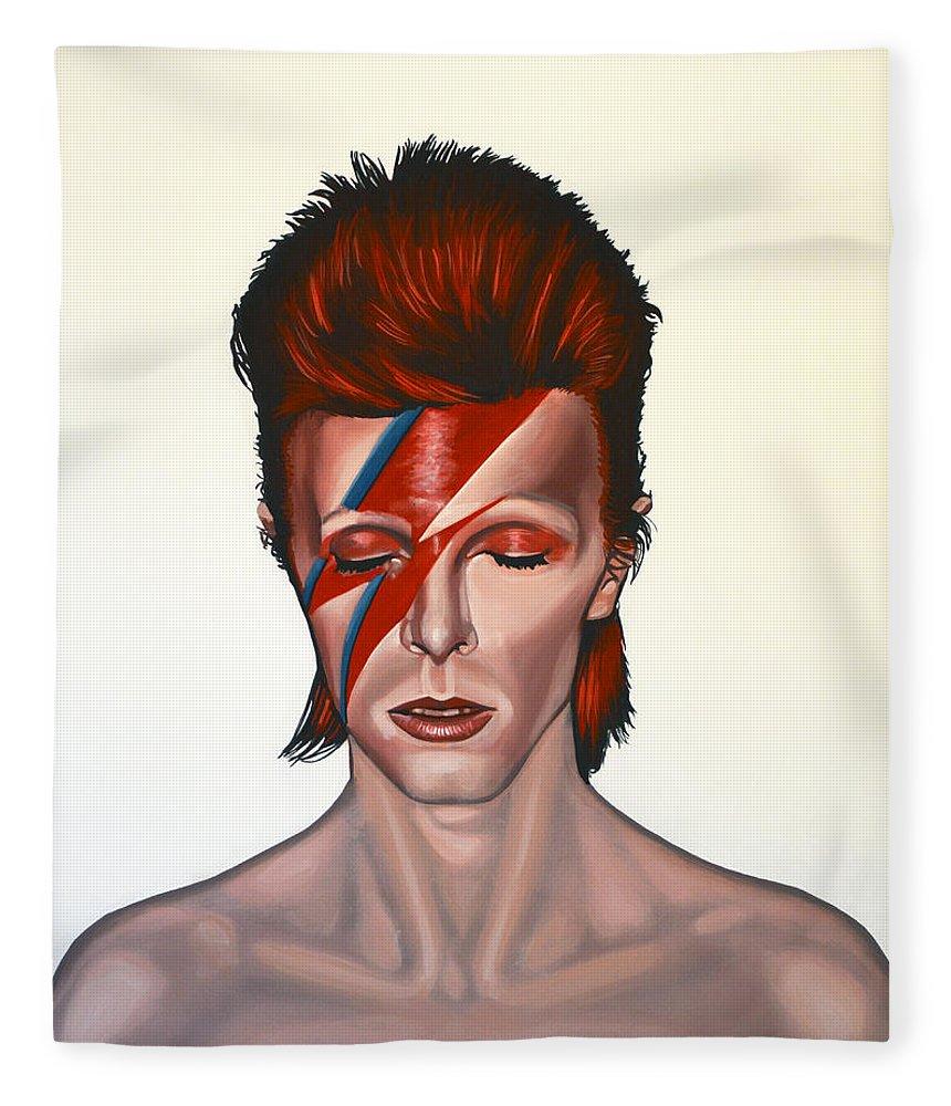 David Bowie Fleece Blanket featuring the painting David Bowie Aladdin Sane by Paul Meijering