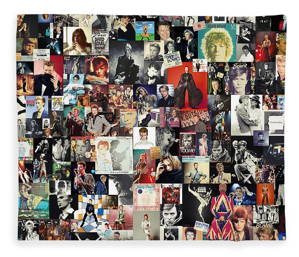 David Bowie Fleece Blanket featuring the digital art David Bowie Collage by Zapista OU