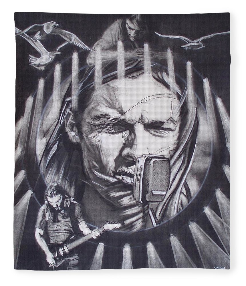 Charcoal Pencil On Paper Fleece Blanket featuring the drawing David Gilmour Of Pink Floyd - Echoes by Sean Connolly