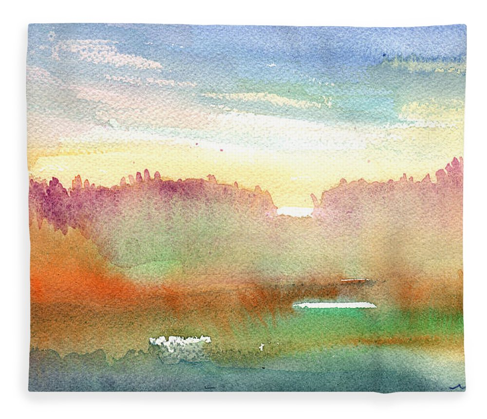 Dawn Fleece Blanket featuring the painting Dawn 43 by Miki De Goodaboom