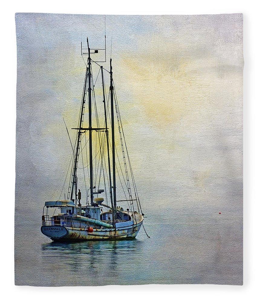 Fishing Boat Fleece Blanket featuring the photograph Daybreak by Nikolyn McDonald