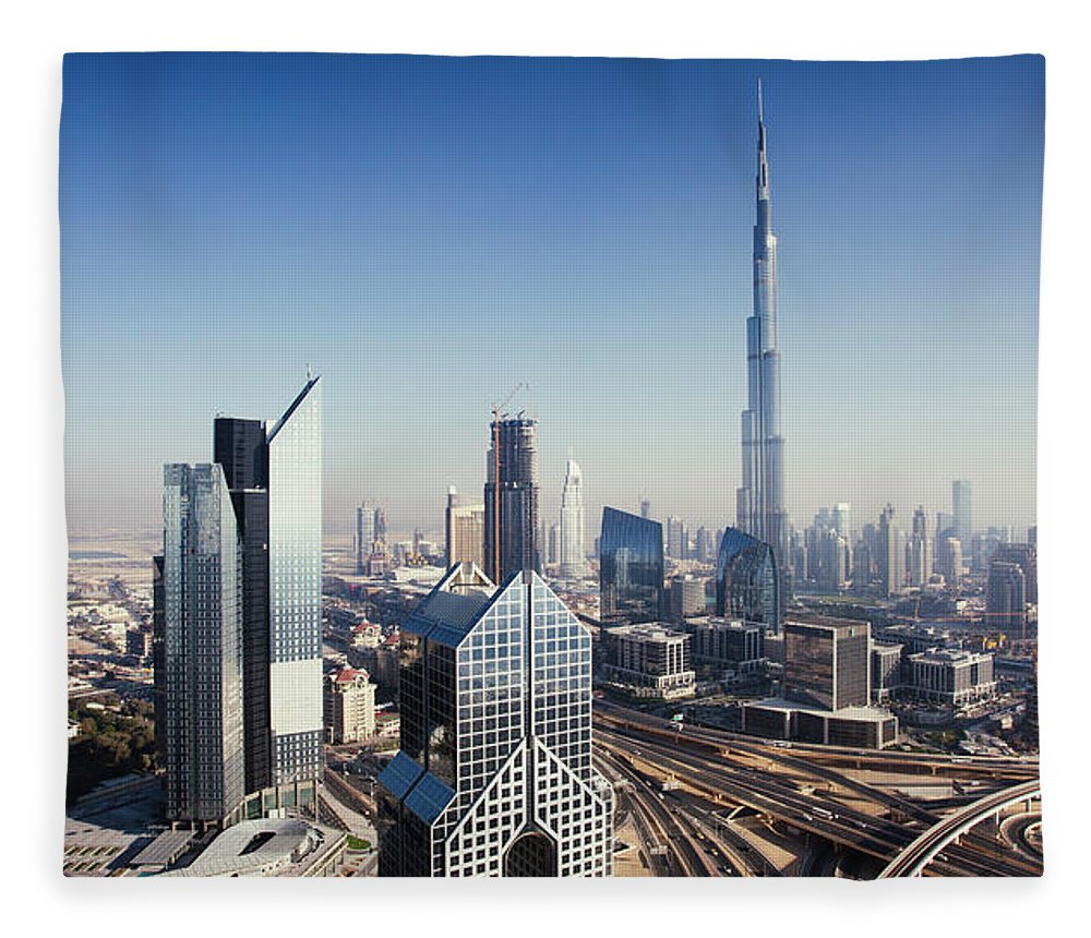 Downtown District Fleece Blanket featuring the photograph Dbuai Sky Line With Traffic Junction by Tempura