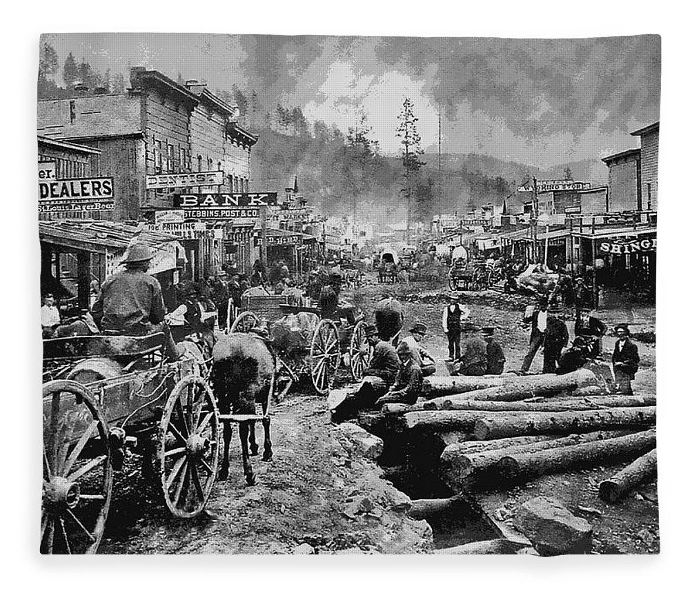 Deadwood South Dakota C 1876 Fleece Blanket For Sale By