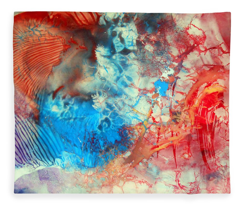Decalcomaniac Fleece Blanket featuring the painting Decalcomaniac Colorfield Abstraction Without Number by Otto Rapp