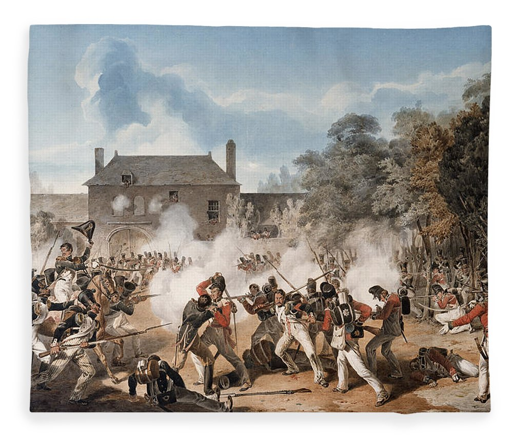 Battle Of Waterloo Fleece Blanket featuring the drawing Defence Of The Chateau De Hougoumont by Denis Dighton