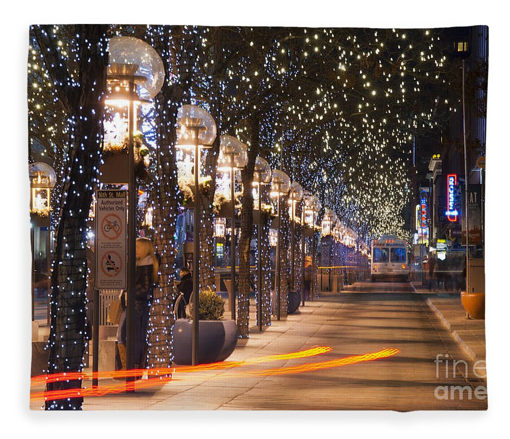 16th Street Mall Fleece Blanket featuring the photograph Denver's 16th Street Mall At Christmas by Juli Scalzi