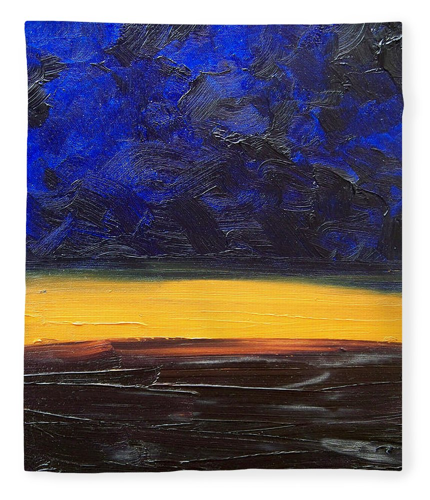 Landscape Fleece Blanket featuring the painting Desert plains by Sergey Bezhinets