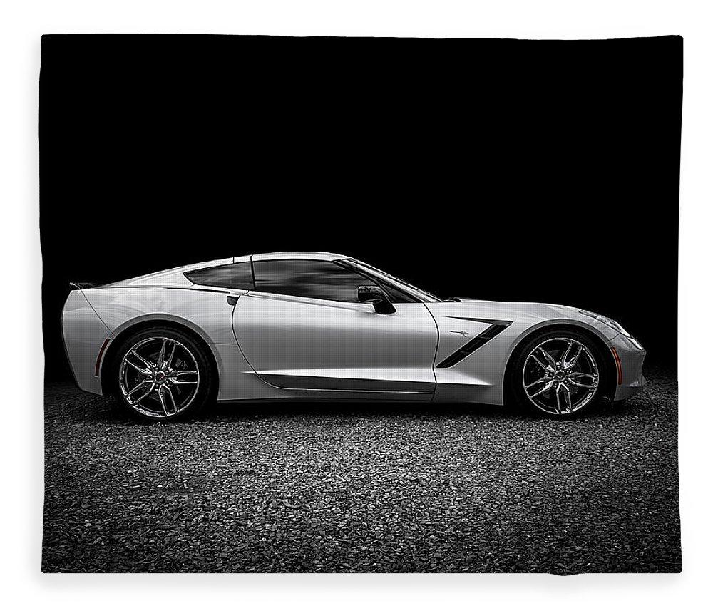 Corvette Fleece Blanket featuring the digital art 2014 Corvette Stingray 2014 by Douglas Pittman