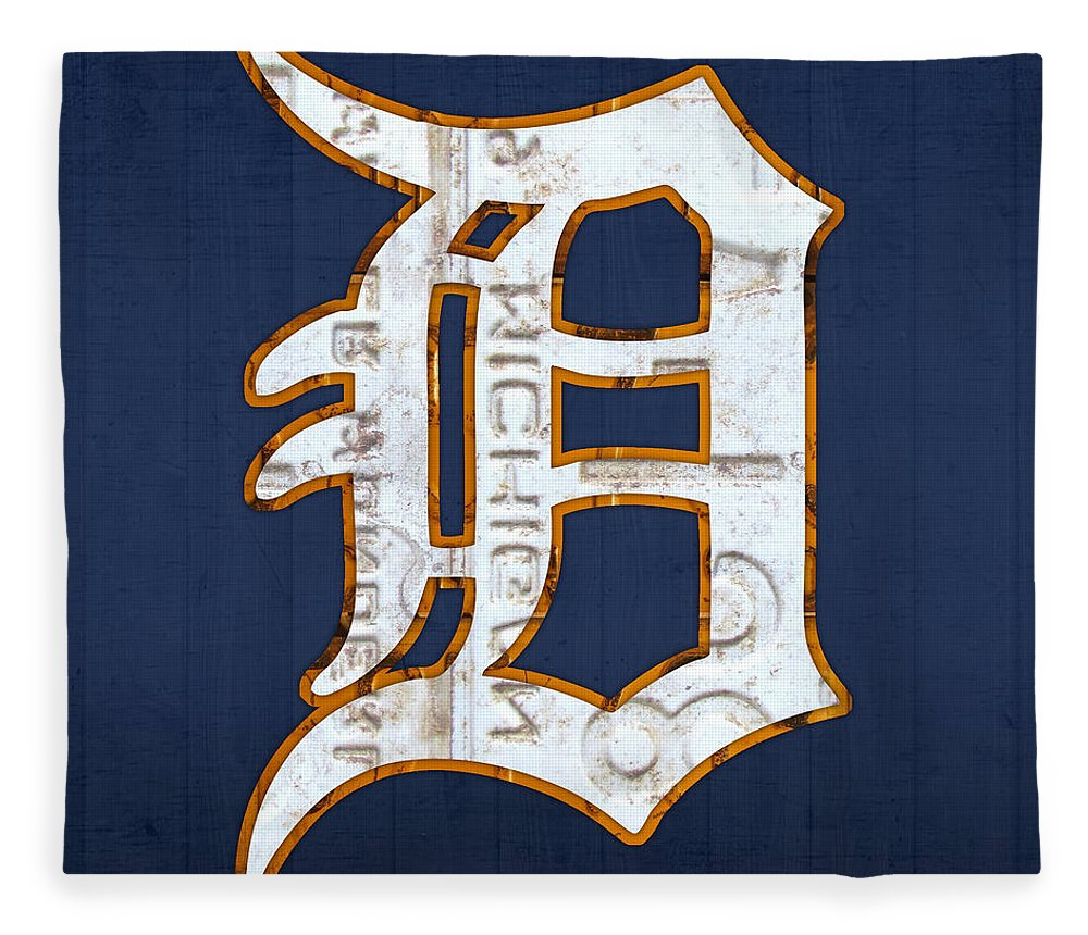 Detroit Tigers Baseball Old English D Logo License Plate Art Sports Michigan License Plate Map Fleece Blanket featuring the mixed media Detroit Tigers Baseball Old English D Logo License Plate Art by Design Turnpike