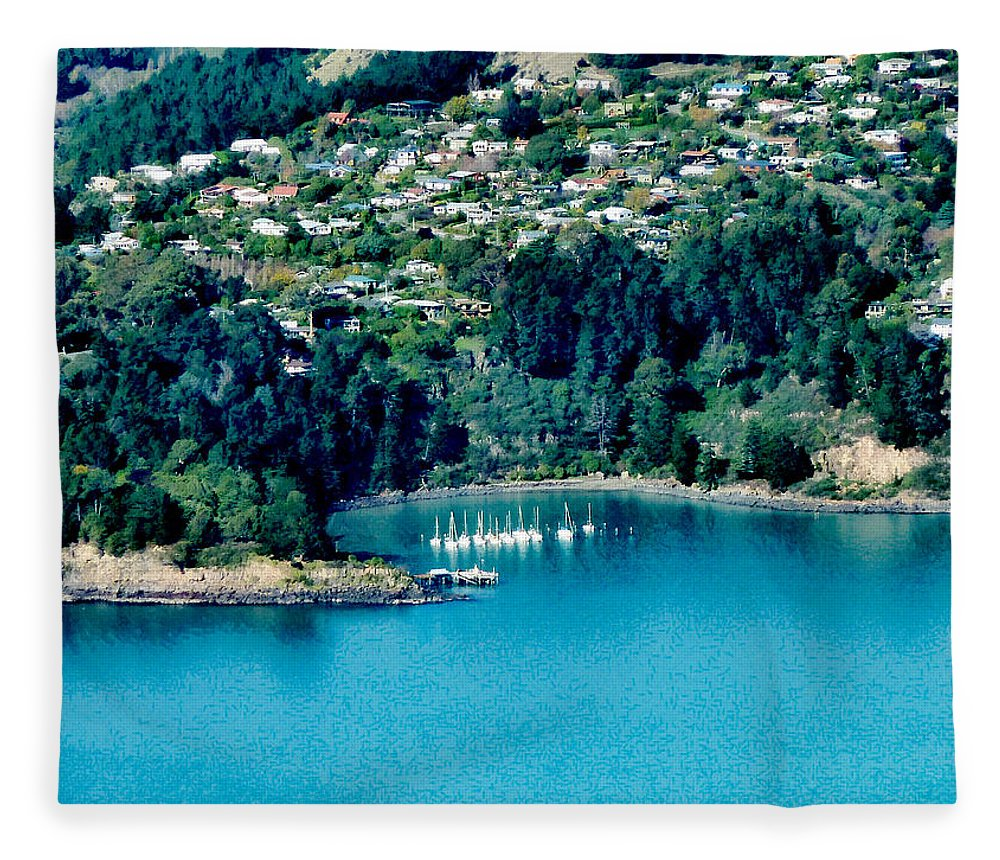 Banks Peninsula Fleece Blanket featuring the photograph Diamond Harbour by Steve Taylor
