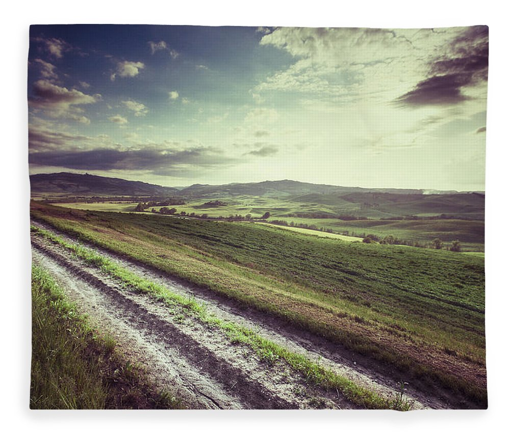 Steppe Fleece Blanket featuring the photograph Dirt Track In Tuscany by Xavierarnau