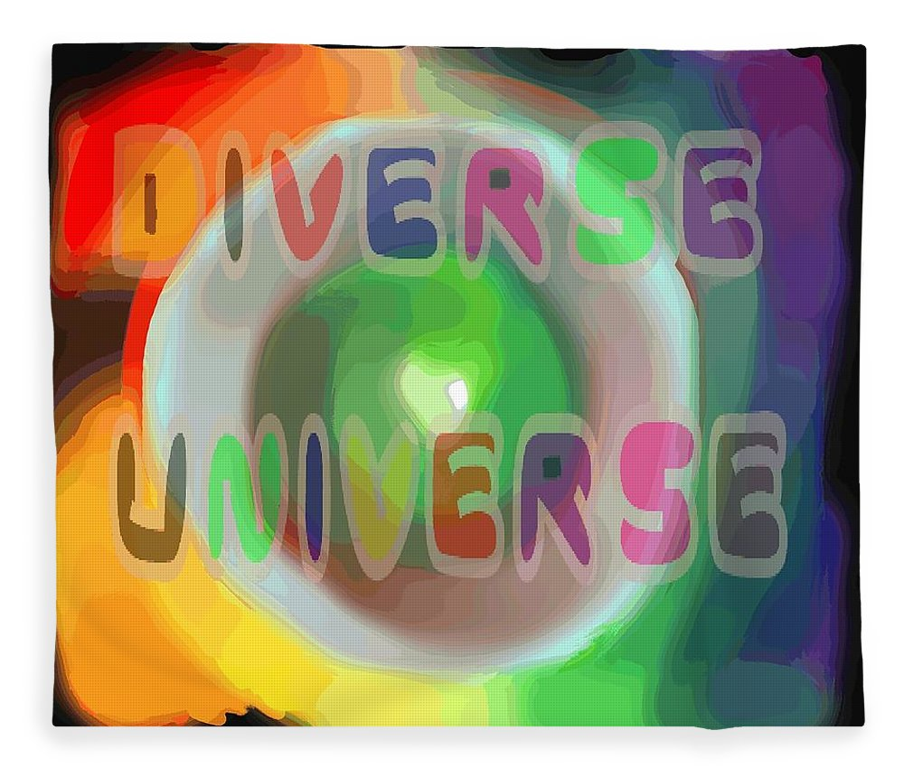 Diverse Fleece Blanket featuring the painting Diverse Universe by Pharris Art