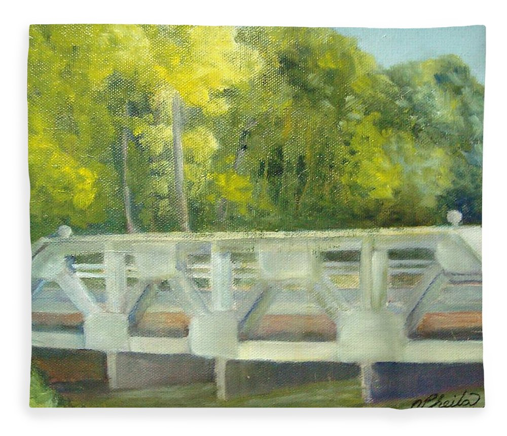 Smithville Park Fleece Blanket featuring the painting Do You Paint Fish? by Sheila Mashaw