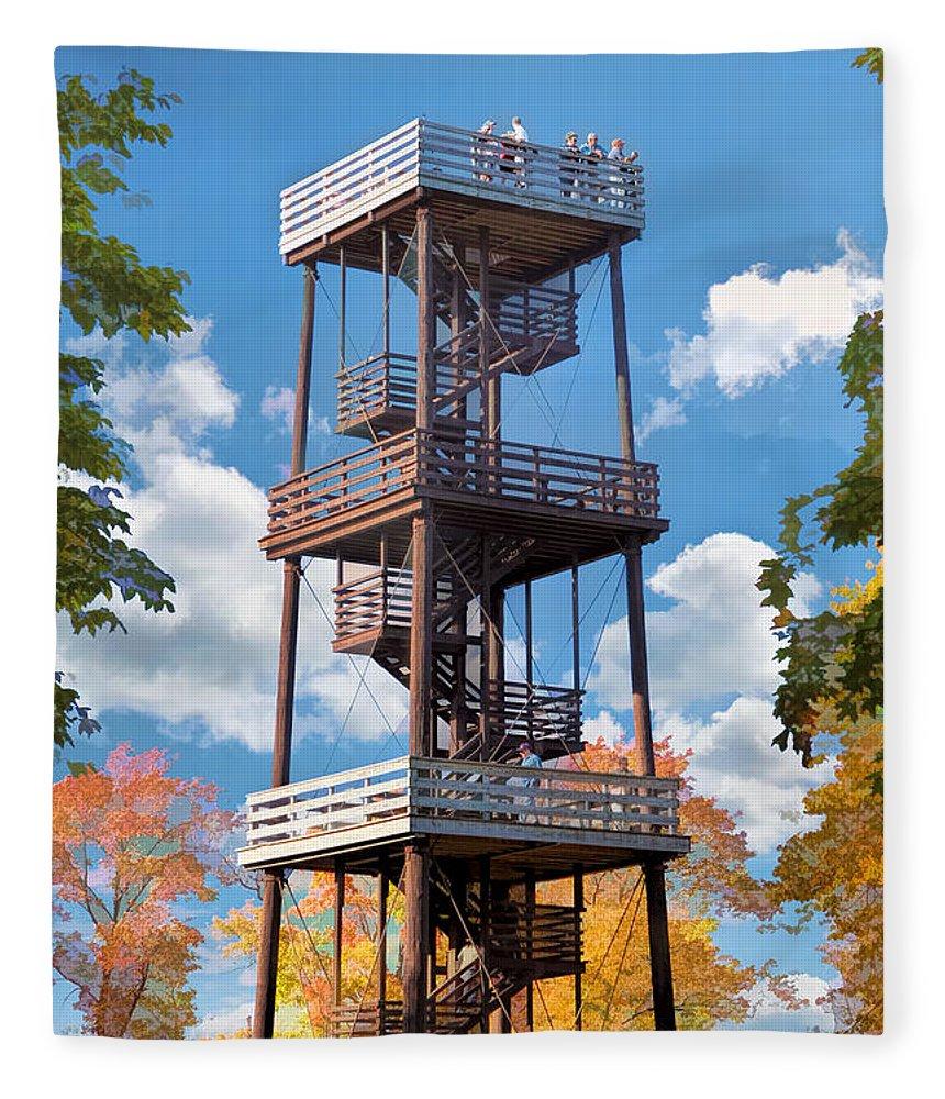Door County Fleece Blanket featuring the painting Door County Eagle Tower Peninsula State Park by Christopher Arndt