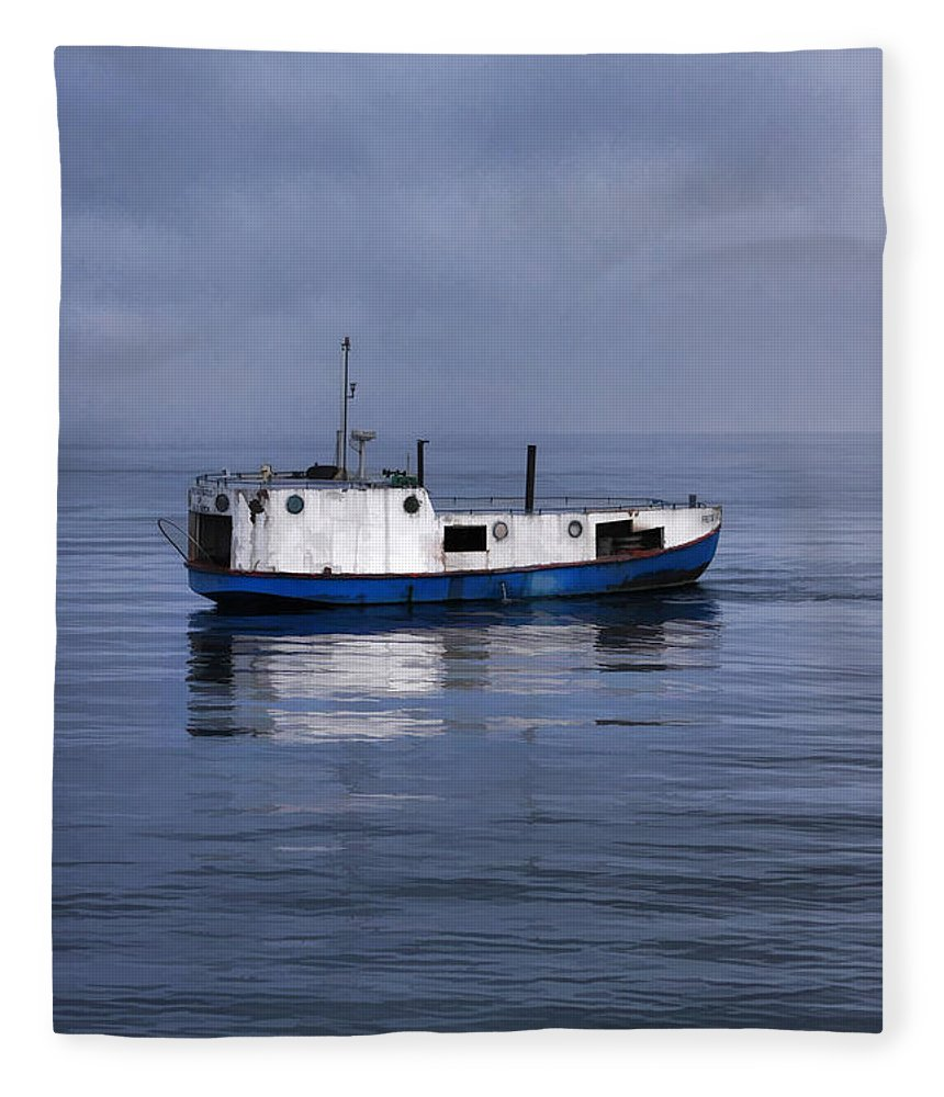 Door County Fleece Blanket featuring the painting Door County Gills Rock Trawler by Christopher Arndt