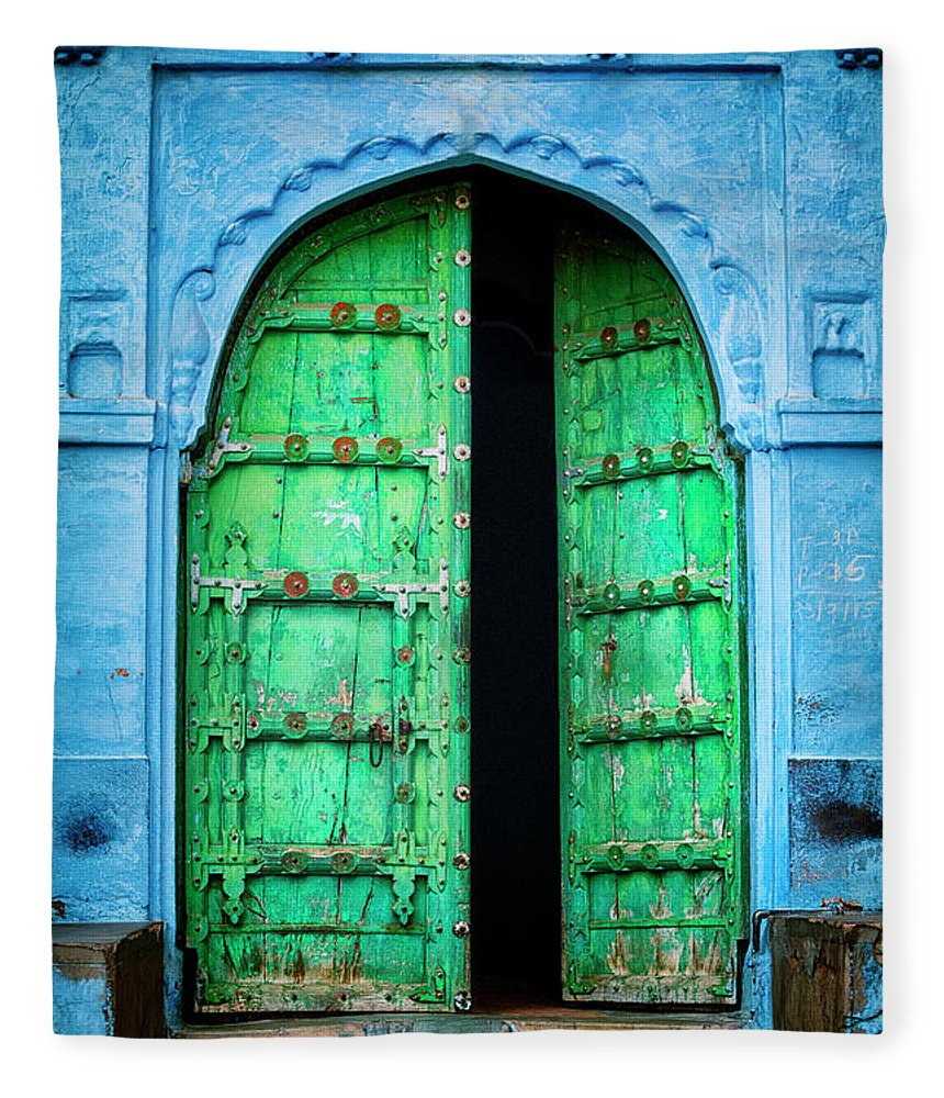 Architectural Feature Fleece Blanket featuring the photograph Door In The Blue City - Jodhpur, India by Powerofforever