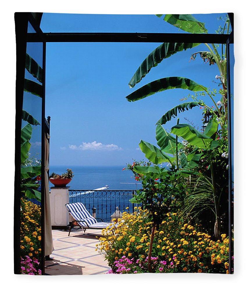 Tranquility Fleece Blanket featuring the photograph Doorway To Terrace At Hotel Punta by Dallas Stribley