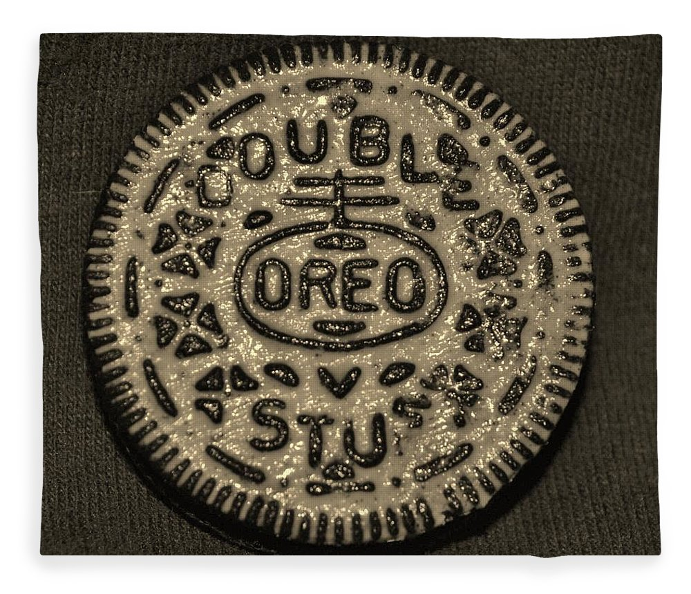 Oreo Fleece Blanket featuring the photograph Double Stuff Oreo In Sepia Negitive by Rob Hans