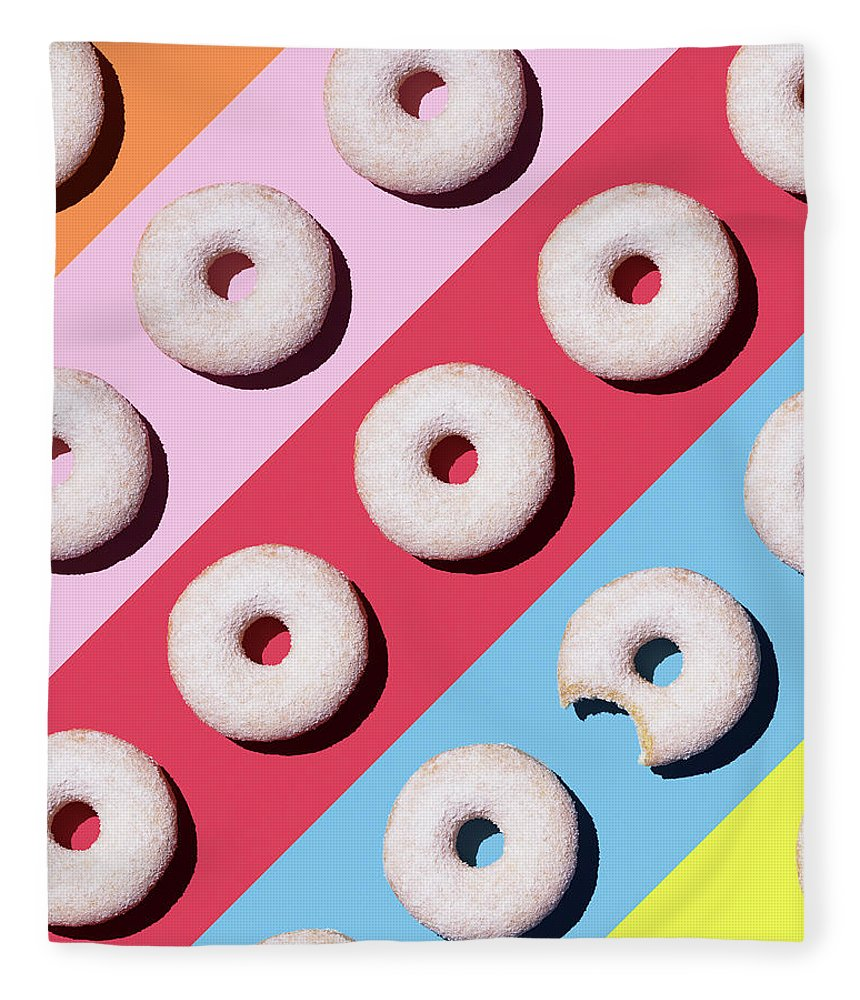 Shadow Fleece Blanket featuring the digital art Doughnuts On Colourful Background by Westend61