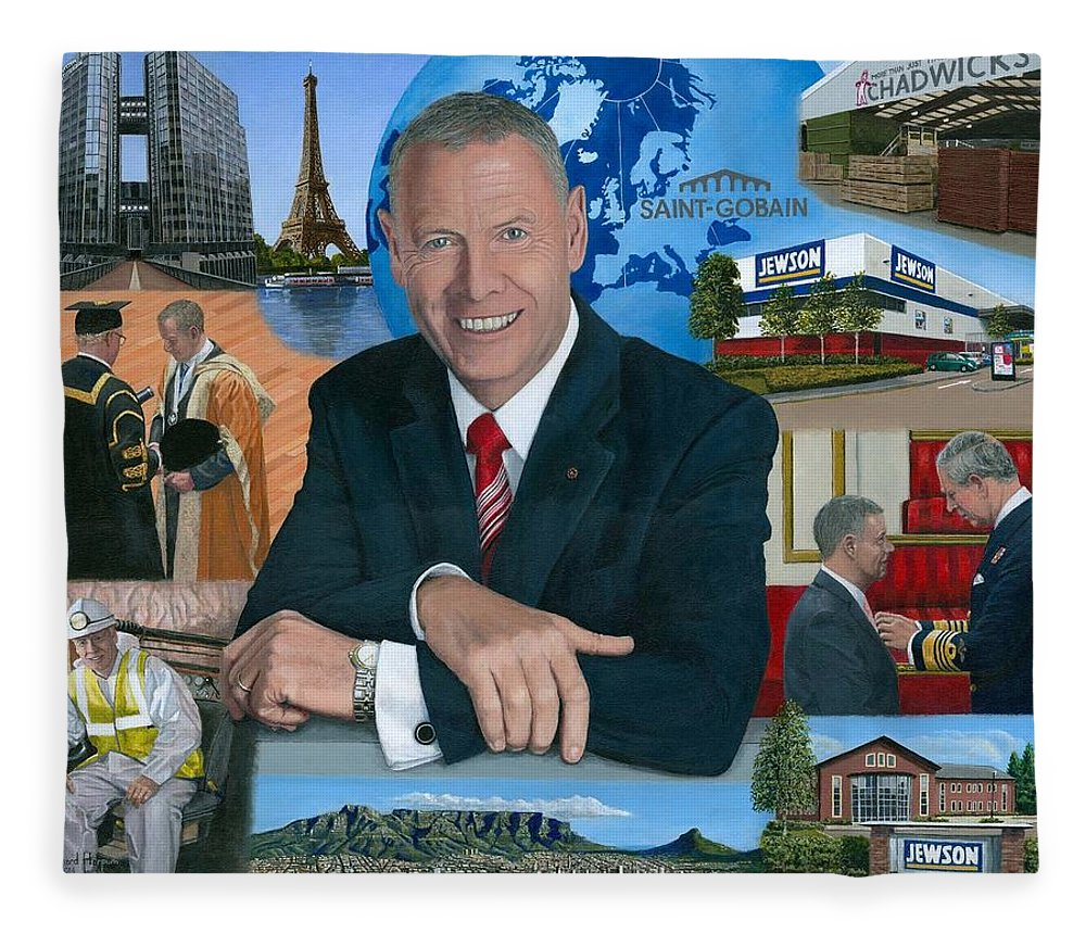 Peter Hindle Fleece Blanket featuring the painting Dr Peter Hindle Mbe by Richard Harpum