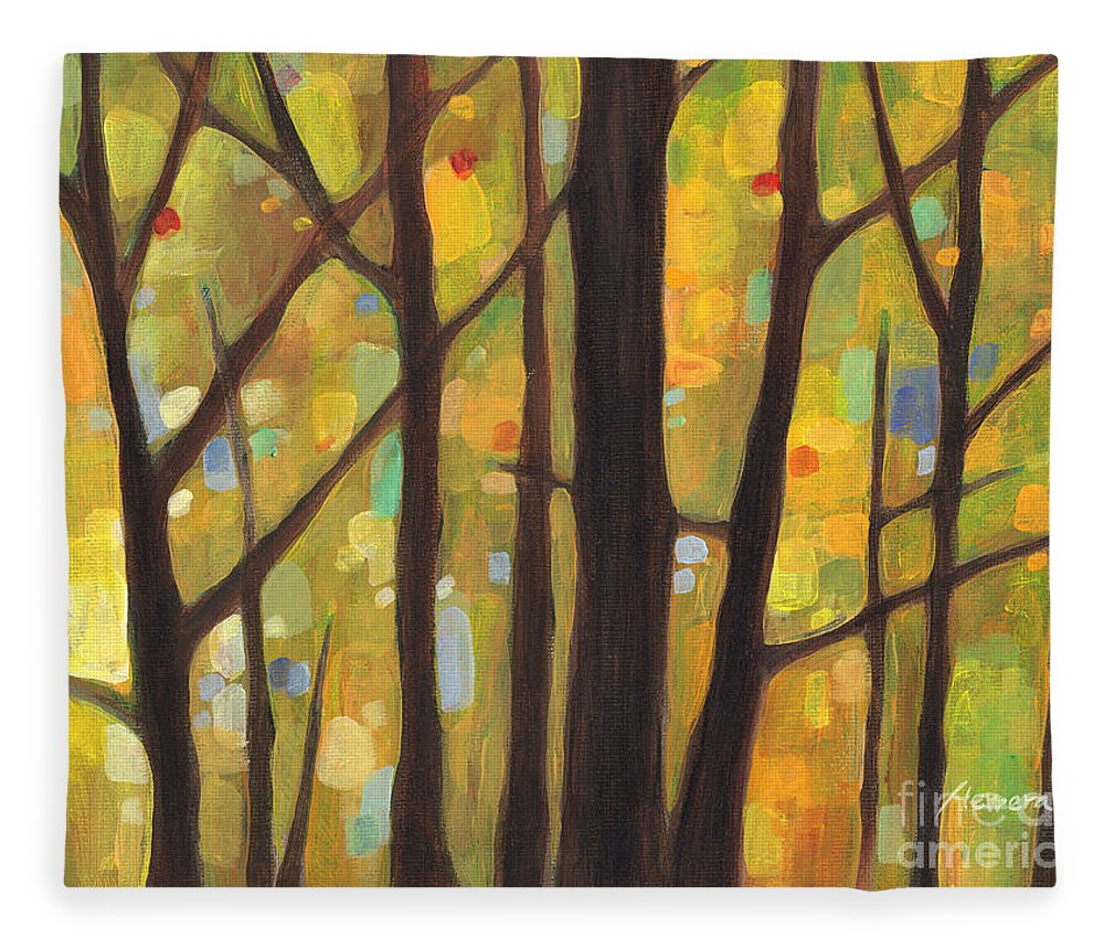 Dreaming Fleece Blanket featuring the painting Dreaming Trees 1 by Hailey E Herrera