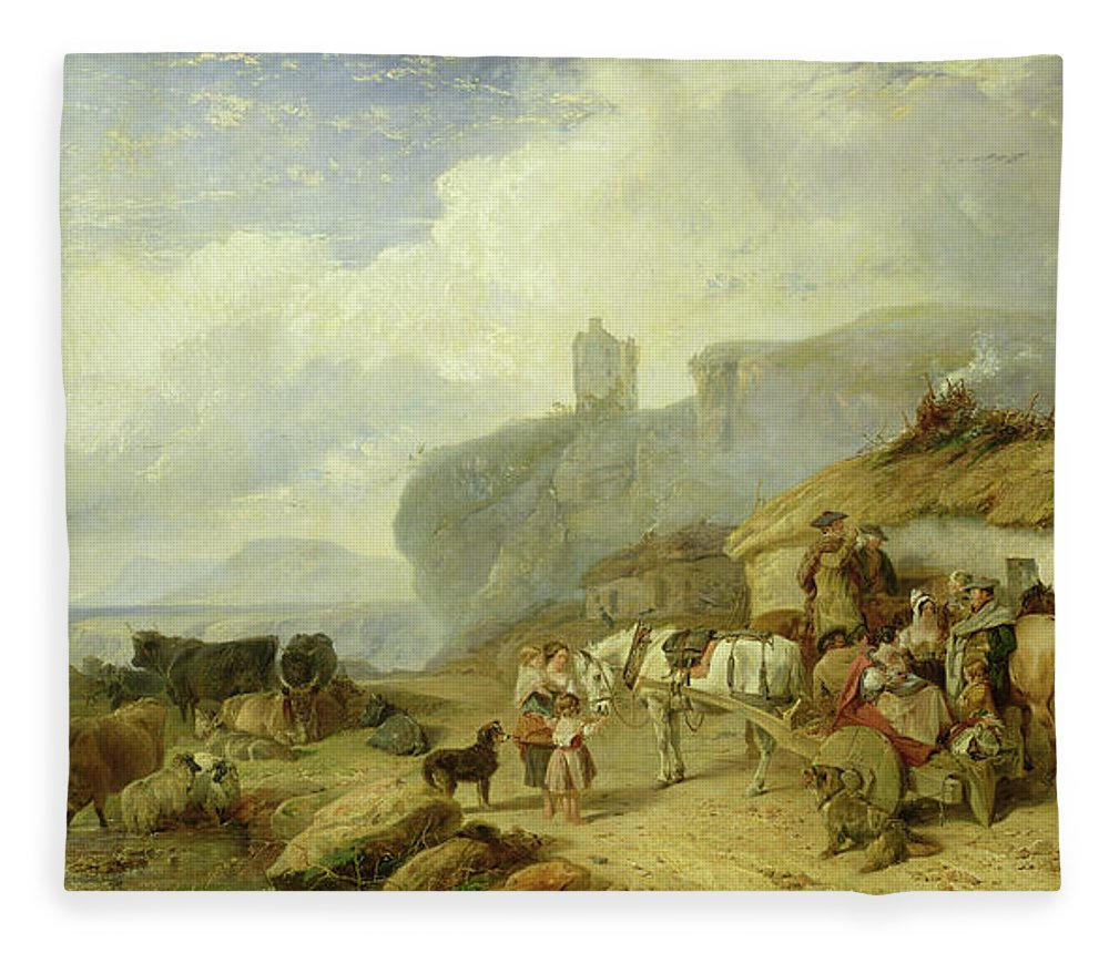 Scottish Village Fleece Blanket featuring the painting Drovers Halt, Island Of Mull by Richard Ansdell