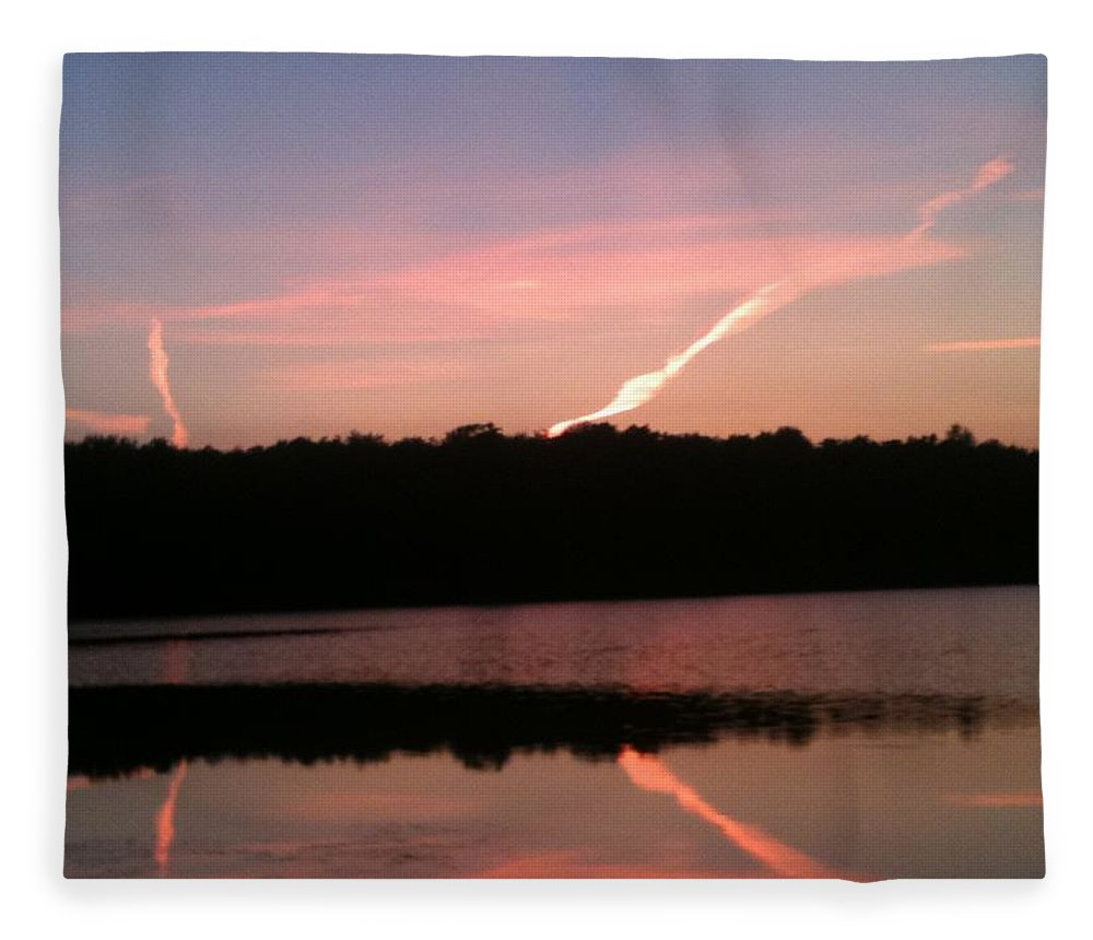 Dusk Fleece Blanket featuring the photograph Dusk in the Poconos by Sheila Mashaw