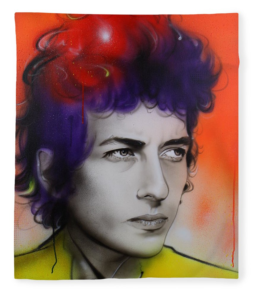 Bob Fleece Blanket featuring the painting Dylan by Christian Chapman Art