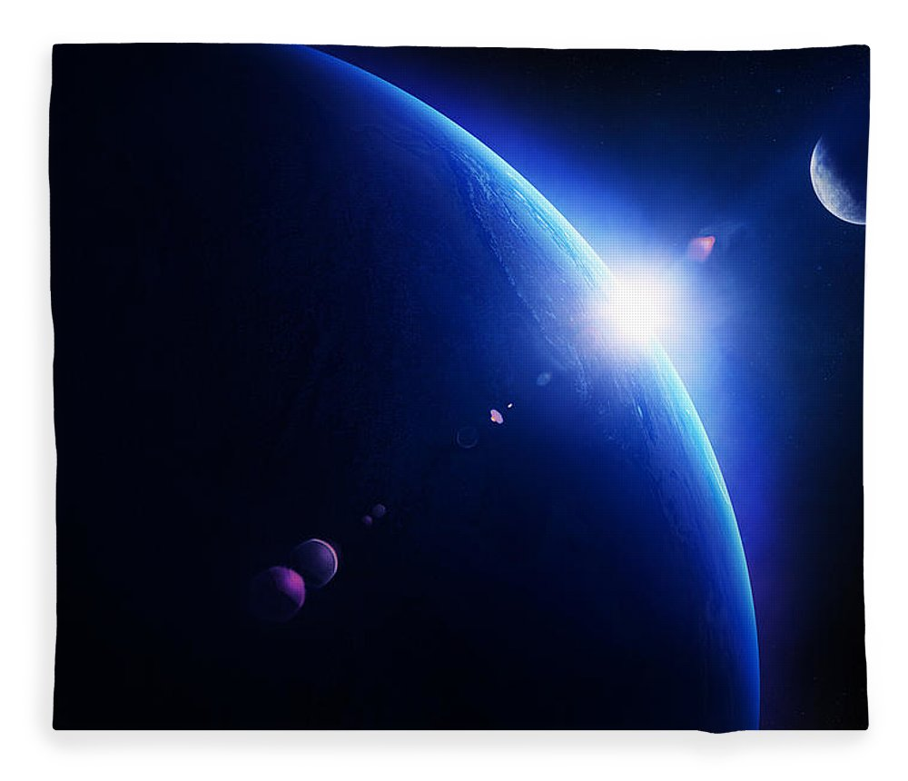 Earth Fleece Blanket featuring the photograph Earth sunrise with moon in space by Johan Swanepoel