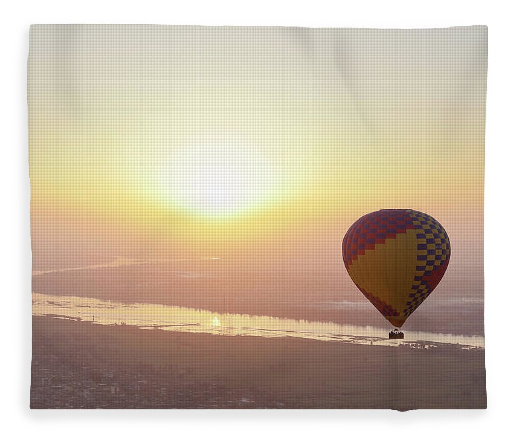 Luxor Fleece Blanket featuring the photograph Egypt, View Of Hot Air Balloon Over by Westend61