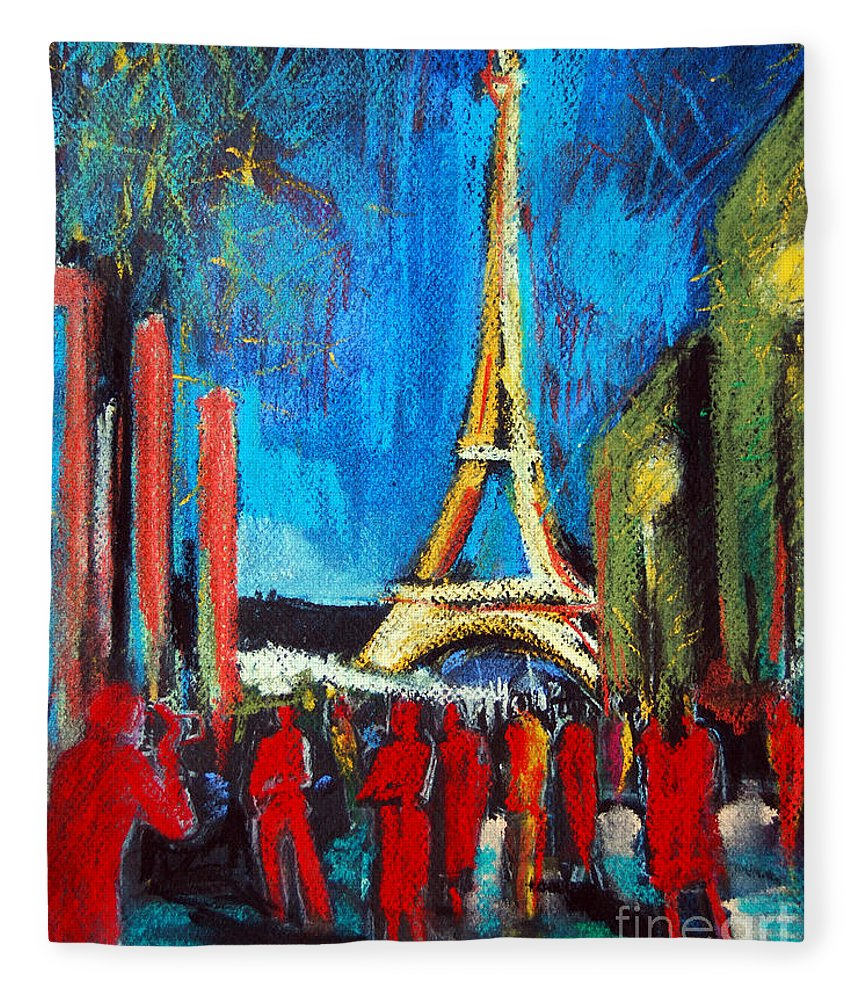 Eiffel Tower And The Red Visitors Fleece Blanket featuring the painting Eiffel Tower And The Red Visitors by Mona Edulesco