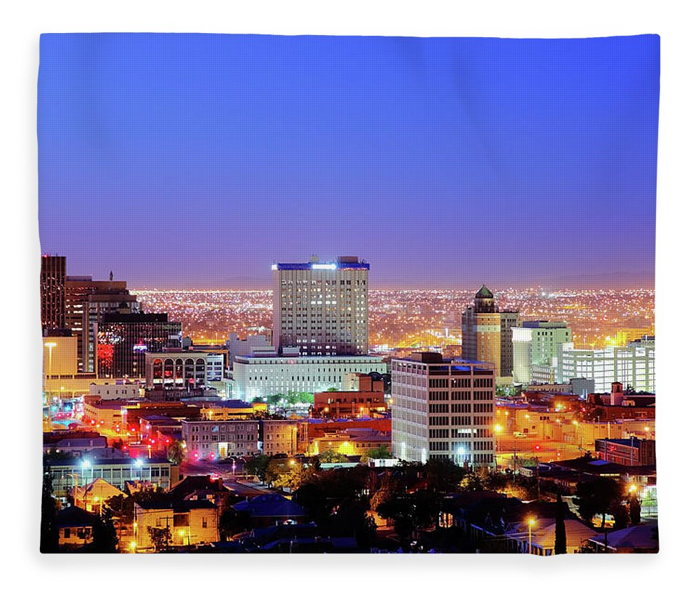 Downtown District Fleece Blanket featuring the photograph El Paso by Denistangneyjr